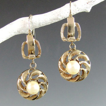 Antique VICTORIAN 14K PEARL Earrings Yellow Gold Pierced Edwardian Ex.