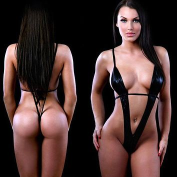 Sexy Wet Look Black Deep Plunge Extreme Micro G-String Thong Slingshot Monokini One Piece Swimsuit Swimwear