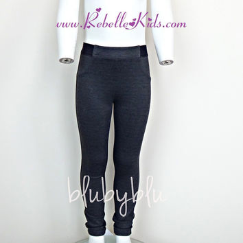 Blu By Blu Basics Charcoal Leggings Sizes 6-12 Years