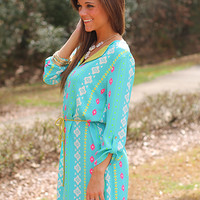 Bright Native Dress, Blue