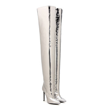 2017 Sliver Metallic Thigh High Boots For Women Superstar Shoes Pointy Toe Thin Heel Mirror Patent Leather High Heel Long Boots