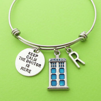 Personalized, Letter, Initial, Police box, Keep calm, The doctor is here, Bangle, Bracelet, Doctor who, Police, Box, Doctor, Bangle