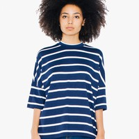 Striped Compact Jersey Mock Neck T-Shirt | American Apparel
