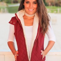 Burgundy Quilted Vest with Fur Collar