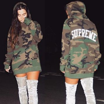 Autumn and winter camouflage printed hooded sweater coat female sweater