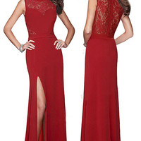Red Sleeveless Long Split Evening Dress