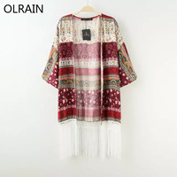 Flower Printed Tassel Kimono Cardigan Coat Ladies Casual Loose Oversize Chiffon Blouse Long Sleeve Tops