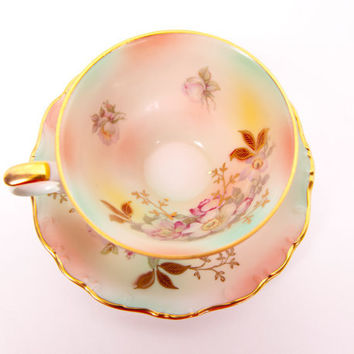 Vintage Schumann Arzberg Germany Pastel Teacup Saucer Wild Rose Pattern Bavaria Raised Porcelain Gold Trim