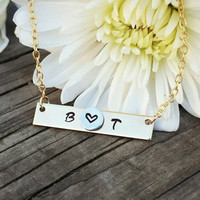 Personalized Couples Initial Necklace, Gold Bar Necklace, Personalized Gold Bar Necklace, Gold Bar Name Necklace, Hand Stamped, Dainty