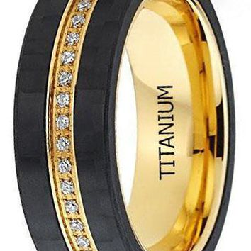CERTIFIED 7mm GoldTone Titanium Men's Eternity Wedding Band Ring with Cubic Zirconia CZ and Carbon Fiber Edges