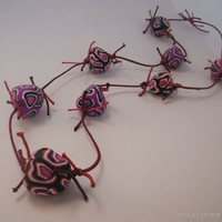 Big bead necklace, hand sculpted, irregular shape handmade purple beads, unusual necklace
