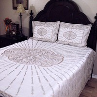 Decorative Designer Trendy Bedding White Indian Bedspread Handcrafted 3P Set
