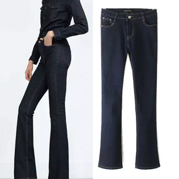 Stylish High Rise Slim Boot Cut Pants Jeans [6048824193]