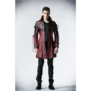 Trendy Punk Rave Gothic Man-made Leather Rock studded  Cotton Jacket Coat Streampunk HoodieLot S-3XL Y349 AT_94_13