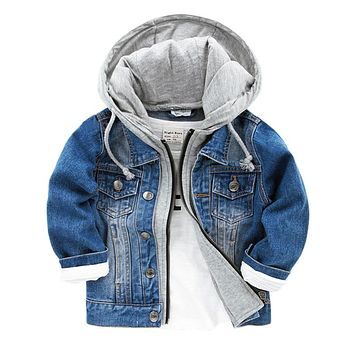 2016 New Baby Boys Denim Jacket Classic Zipper Hooded Outerwear Coat Spring Autumn Children Clothing Kids Jacket Coat DQ110