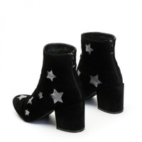 Hellen Glitter Star Ankle Boots in Black Faux Suede