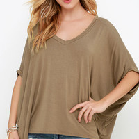 Lower Atmosphere Brown V Neck Top