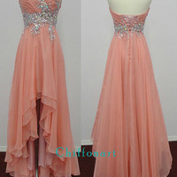 Hi-lo Pageant Dress Sweet Heart Dress Evening Dress Party Dress Prom Dress Beaded Dress Blush Dress Graduation Dress Coral Dress