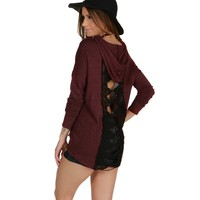 Sale-burgundy Crochet Back Hooded Sweatshirt