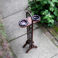 Dual Ashtray Stand.Two Circular Grandberry  Colored Glass Trays. Handmade Cutout Wood Frame