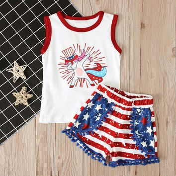 Unicorn Fourth Of July Outfit Stripe Top And Shorts