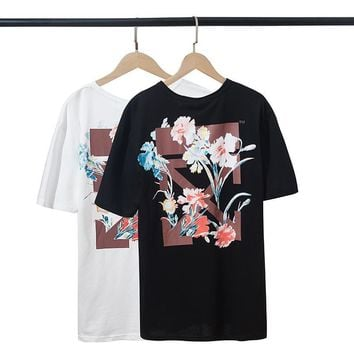 HCXX 19July 440 Off White Logo Painted flowers Men and Women Short Sleeve Loose Cotton T-Shirt