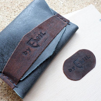 Hand Stitched Distressed Grey Leather Card Holder Wallet LIMITED EDITION