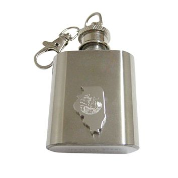 Illinois State Map Shape and Flag Design 1oz Keychain Flask