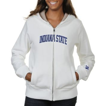 Indiana State Sycamores Ladies Huddle Full Zip Sherpa-Lined Hooded Jacket - White