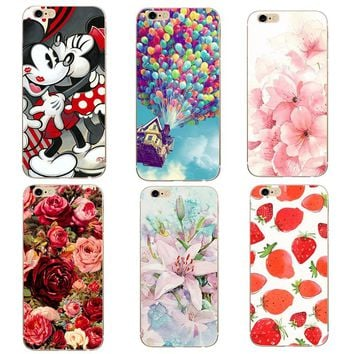 For Apple Iphone 7 case Thin Transparent Soft Shell Flowers tpu Phone Back Cover Case For Iphone 6 6s 7 Plus 8 Plus 5 5S SE x