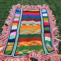 colorful  Afghan Boho Hippie Afghan 1960's 1970's long fringe  Afghan 49 1/2 X 78