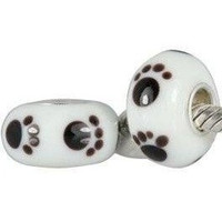 European charm glass bead with white and black paw prints