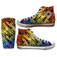 Rainbow Zebra Printed Converse All Stars and Vans