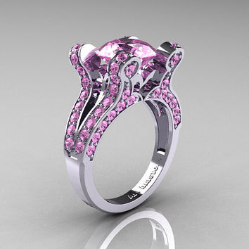 French Vintage 14K White Gold 3.0 CT Light Pink Sapphire Pisces Wedding Ring Engagement Ring Y228-14KWGLPS