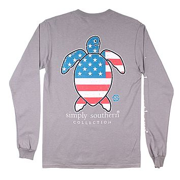 Save Turtle Tee USA in Steel by Simply Southern