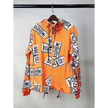 """Supreme"" Popular Unisex Fashion Print Ultrathin Windbreaker Prevent Bask Hoodie Zipper Outdoor Coat Orange I-CN-CFPFGYS"