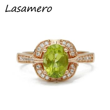 LASAMERO 8*6mm Peridot Anniversary Ring Gemstone Solid 925 Sterling Silver Women Jewelry