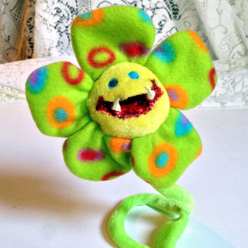 Bloody Flower, Monster Grin, Creepy Toy, Biting Creature, Halloween Prop, Altered Toy, Spooky Decor, Creepy Doll