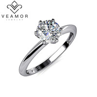 VEAMOR 100% Pure 925 Sterling Silver 6 Claw 6mm SWA Elements CZ Diamond Wedding Engagement Rings for Women and Man VMR0001