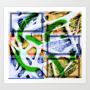 Collage of long twigs with squares Art Print by Ellen Turner