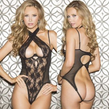Temptation Perspective Lace Gauze Backless Hollow Crisscross Halter Sleeveless Open Crotch Bodysuit Erotic Lingerie