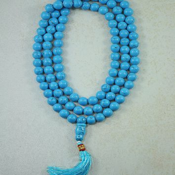 Turquoise Mala 108 Beads Prayer Necklace