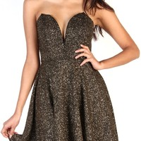 Fit And Flare Dress With Plunge V Neck - Glitter Black/Gold