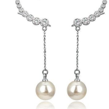 Silvertone Crystal and Pearl Ear Jackets Drop Earring Set