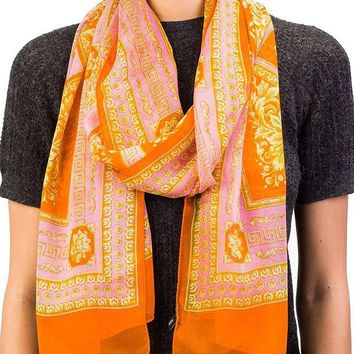 DCCKNY1 Versace Women's Baroque Pattern Modal Cashmere Blend Scarf Orange Large