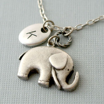 Elephant Personalized Initial Necklace,Elephant Necklace,Elephant handstamped Necklace,Lucky Initial Elephant Necklace