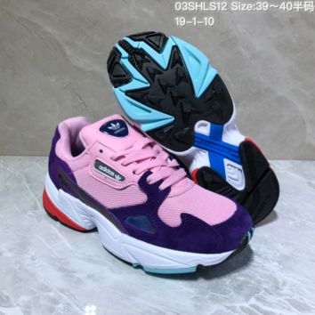 KUYOU A426 Adidas Originals Falcon W Ratro Mesh Fashion Running Shoes Pink Purple