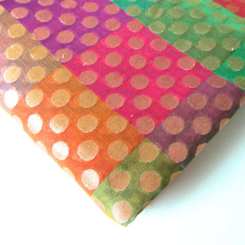 rainbow silk brocade. colorful silk. india silk brocade. golden polka dots silk. polka dots silk. fabric nr 99 fat quarter