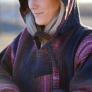 Mexican Threads Baja Drug Rug Hoodie Pullover Sweatshirt | Baja Jacket Poncho Boho Gypsy - Black/Brown/Peach