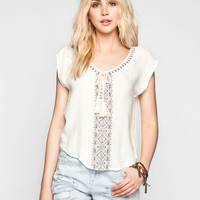 EYESHADOW Embroidered Womens Peasant Top | Blouses
